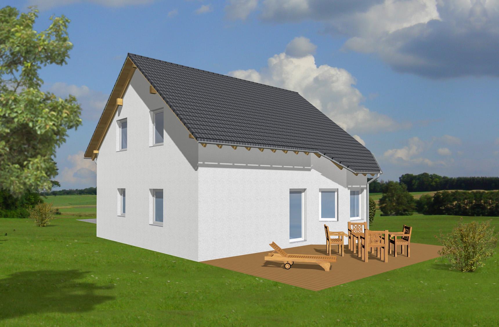 Typenhaus Cursa - ALG Massivhaus GmbH Gartenansicht