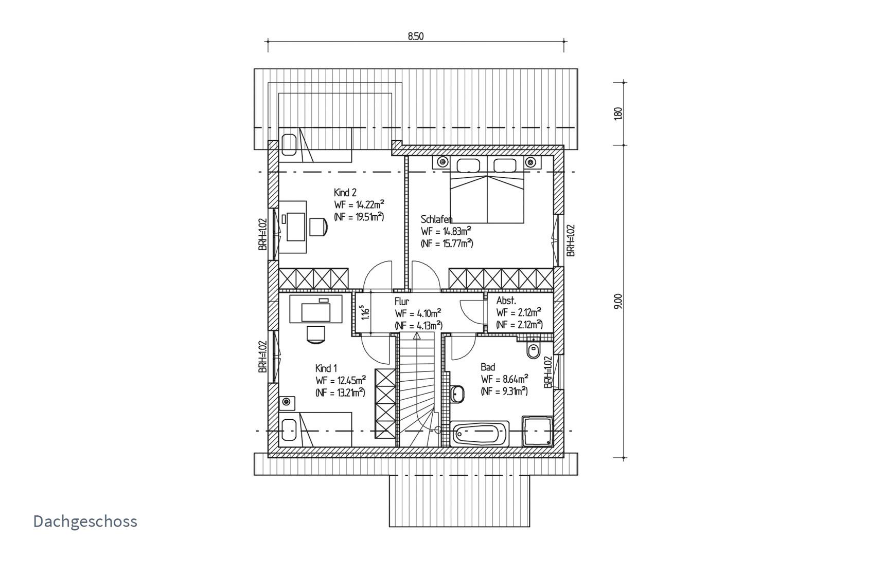 Typenhaus Gatria - ALG Massivhaus GmbH Grundriss DG