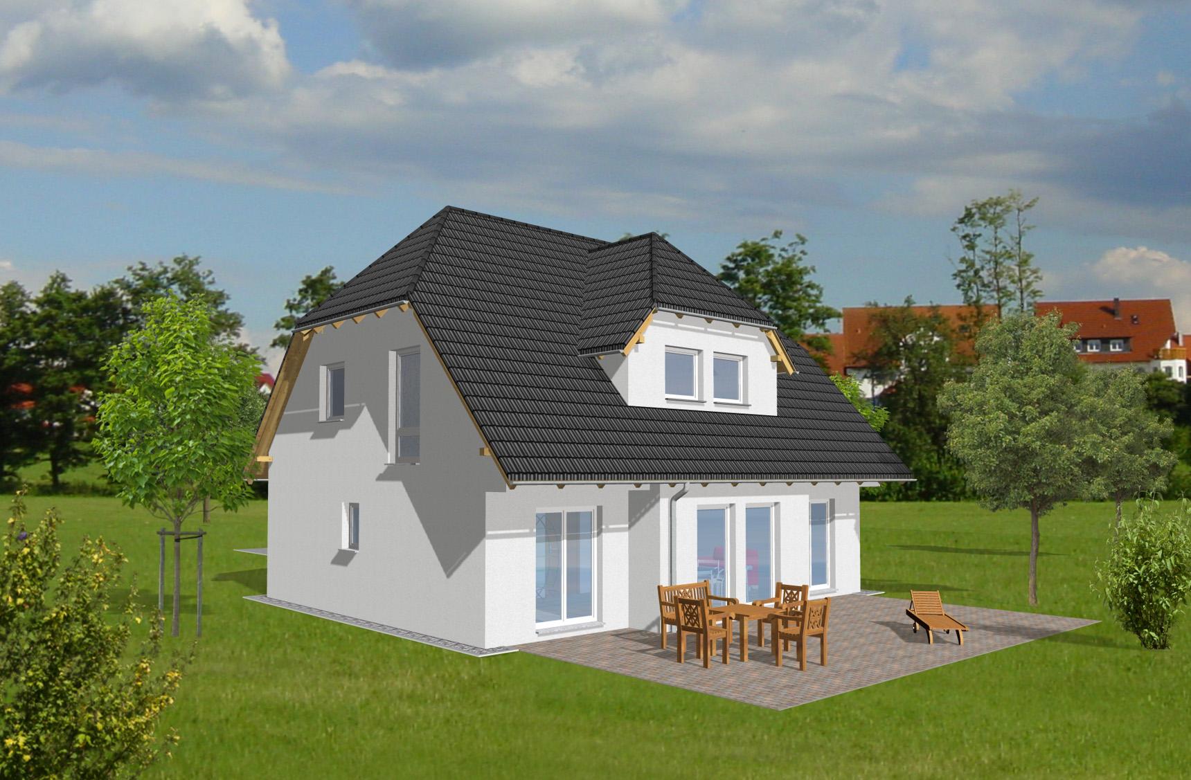 Typenhaus Minelava - ALG Massivhaus GmbH Gartenansicht