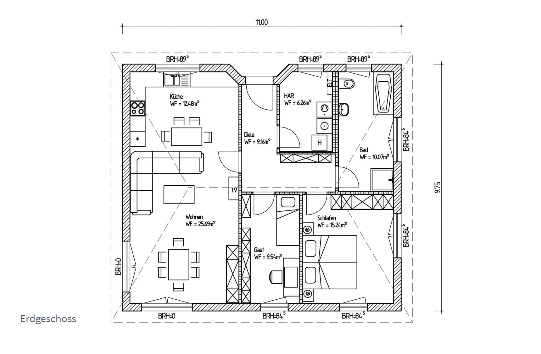 Typenhaus Regor - ALG Massivhaus GmbH Grundriss EG
