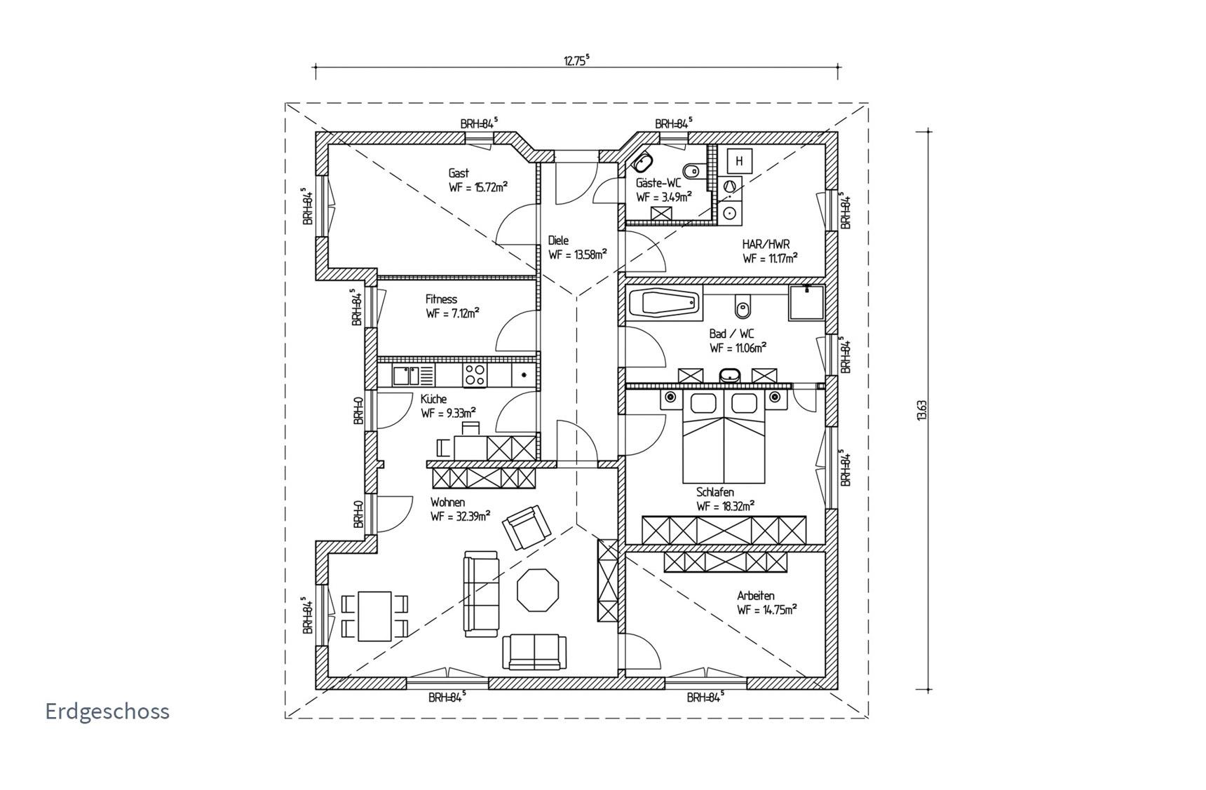 Typenhaus Regulus - ALG Massivhaus GmbH Grundriss EG