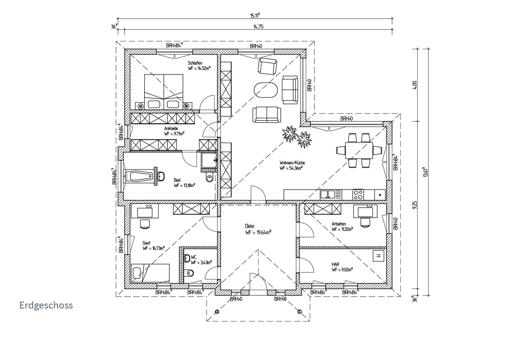 Typenhaus Atria - ALG Massivhaus GmbH Grundriss EG